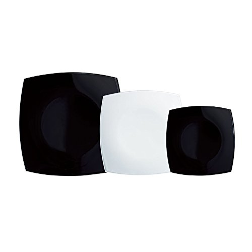 Luminarc Vajilla Cuadrada 18 Piezas Más Ensaladera Modelo Quadrato Blanco Y Negro combinadas, Vidrio sodo, Centimeters