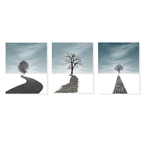 Staright Impressão em tela pinturas com molduras Decoração de parede de arte Vistas de árvore Impressões de arte Imagens animadas árvore estrada neve arte decoração de casa para sala de estar 12x16 po