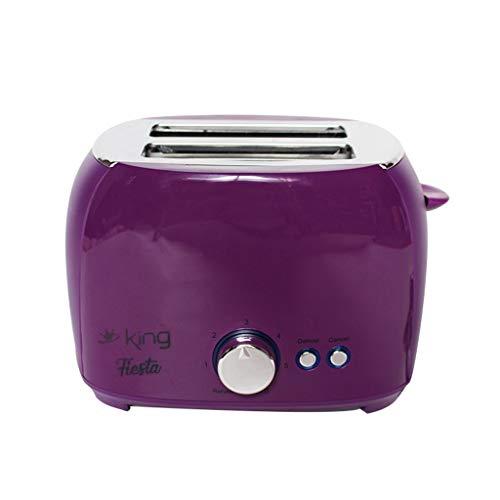 Home Toaster,Slot Toaster, Retro Edelstahl Toaster 2 Scheiben extra breiter Toaster Perfekt für Brot, englische Muffins, Bagels, Abbrechen-Taste (Lila)