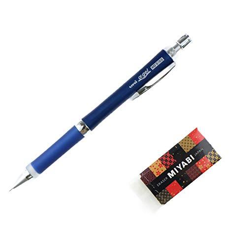 〈New〉 Uni Alpha Gel, Comfy Grip-High Density Gel Type, Slim Model Mechanical Pencil, Navy Body & MIYABI Stationery ERASER(Black) Original Set (M5-809GG1P.9/MB-B)