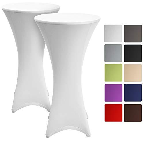 Beautissu 2er Set Husse für Stehtische Ø 60-65 cm Stretchüberzug für Bistrotisch – Edle Stretchhusse als Tischdecke in Weiß