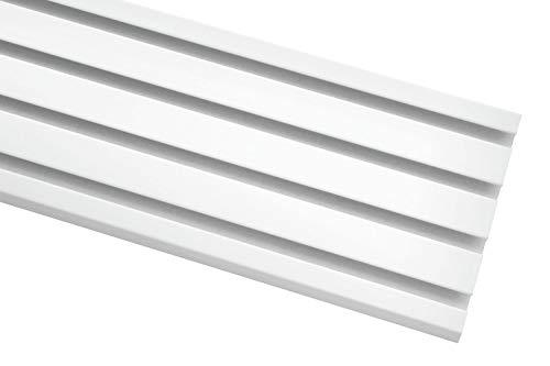 Gardinia Klöckner Flächenvorhangschiene, 4-läufige Schiene inkl. Zubehör, Weiß, 200 cm
