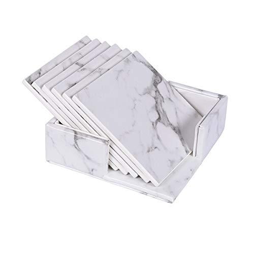 XUSHEN-HU 6 STÜCKE Set Marmor Coaster PU Getränk Kaffeetasse Matte wasserdichte/hitzedichte Tisch Tischsets Tee Pad schwarz weiße Schreibtischdekoration Bar (Color : White Square)