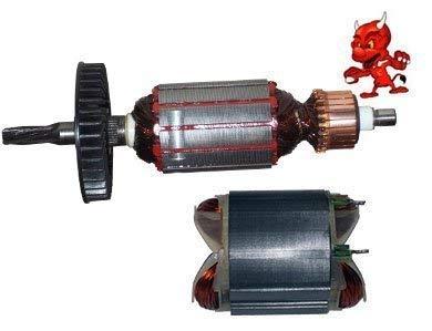 1 Set Anker Rotor Kollektor Läufer mit sechs Zahnwelle + Polschuh Feld Stator passend für Bosch GBH 2-24 DSR