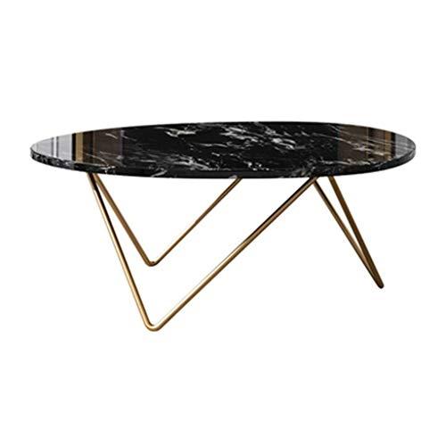 Couchtisch Niedriger Oval Marmortisch Sofa Beistell-Tische mit Speicher for Wohnzimmer Kleine Zimmer Moderne Nacht (Color : Black)