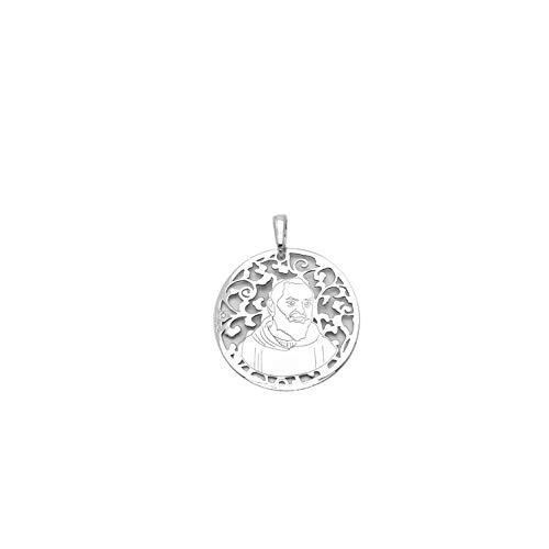 Medalla Padre PIO en Plata de Ley y Diamante