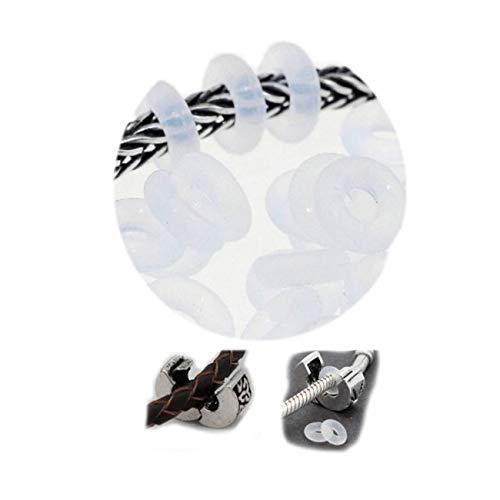 SEXY SPARKLES - Lote de 10 anillos retenedores transparentes de silicona para separadores, abalorios o clips de pulseras con cadena tipo cola de topo