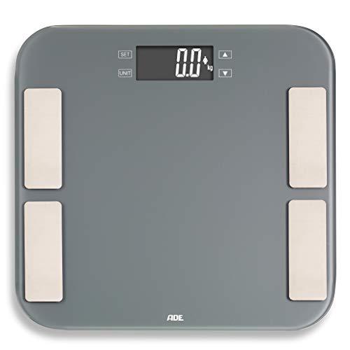 ADE Körperanalyse Waage BA1807 Malou, Digitale Personenwaage bis 180kg zur Analyse von Körperfett, Wiegefläche aus Sicherheitsglas, grau