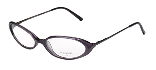 Vera Wang Curve For Ladies/Young Women/Girls Cat Eye Full-Rim Shape Flexible Hinges Hip & Chic Rare Made In Japan Eyeglasses/Eyeglass Frame (52-16-125, Purple/Mauve)