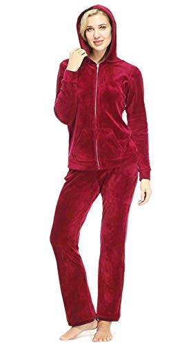 Dolcevida Women's Active Solid Velour Tracksuit Zip up Hoodie & Pullover Sweatshirts and Sweat Pant Sweatsuit (Full Zip Top-Red, L)