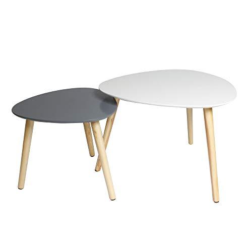 Feenice 2er-Set Coffee Tisch Satztische Beistelltisch skandinavische Couchtisch rund Wohnzimmertisch skandinavisch Kaffetisch klein Satztisch Set Groß(55x55x45cm),Klein(40x40x40cm)