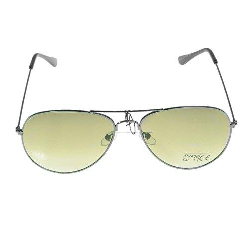 Unbekannt Pilotenbrille Sonnenbrille Fliegerbrille Pornobrille mit Federscharnier NICHT verspiegelt (Klar) (Farngrün Gläser/Schwarz Rahmen)