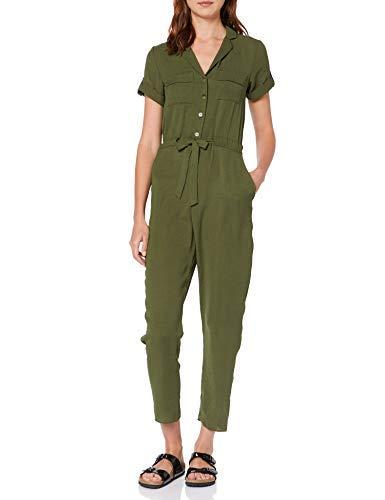 Dorothy Perkins Linen Ultility Jumpsuit Combinaison, Vert (K