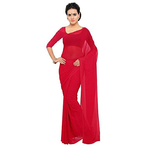 4b7710526a Sidhidata Textile Women's Solid Plain Georgette saree With Unstitched Blouse  Piece