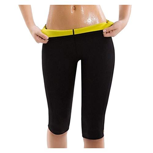 XiuLi Pantalones Deportivos adelgazantes Leggings Deportivos para Mujeres Pantalones de Sauna para Adelgazar de Neopreno para Mujeres Pantalones de Sauna opacos (Color : Black Shorts, Size : L)