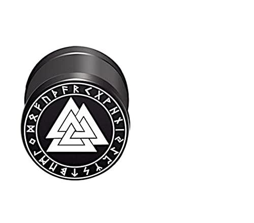 CHICNET Damen Herren Fake Plug Piercing Ohrstecker Ohrring aus Edelstahl in schwarz Silber, Schraubverschluss, 10mm rund, 6mm lang, 1.2mm Stift, Viking Celtic Nordic Valknut