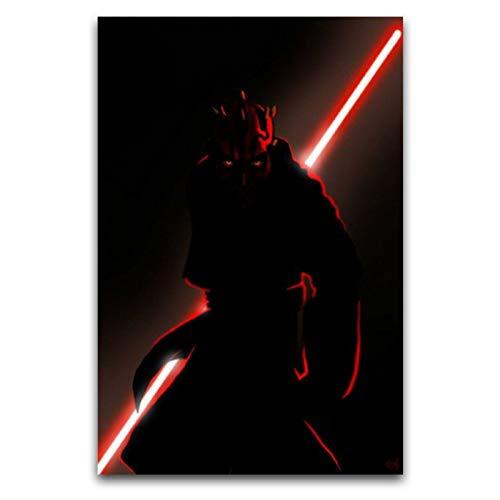 Star Wars Darth Maul Lichtschwert Poster Dekoration Gemälde Leinwand Wandkunst Schlafzimmer Wohnzimmer Poster Gemälde 40 x 60 cm