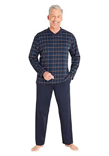hajo Herren Zweiteiliger Schlafanzug - Klima Light, Farbe:Marine, Größe:54