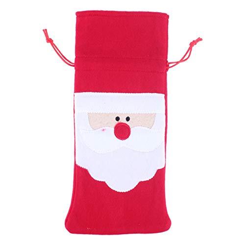 Omabeta Bolsa de Botella de Vino 1 Pieza de Tela Cubierta de Botella de Navidad Colorida Duradera para Bolsa de Regalo de año Nuevo