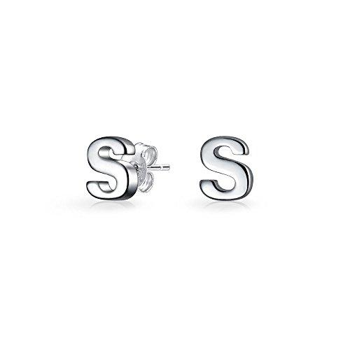 ABC Minimalistische Hauptstadt Block Buchstabe Initialen S Ohrstecker Für Jugendlich Für Damen Sterling Silber