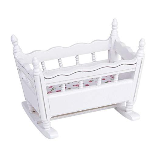 asdfwe De Madera En Miniatura 1:12 Bebé Cuna Cuna Decoración del Dollhouse