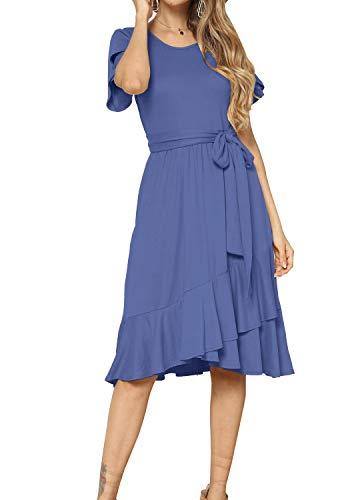 levaca Women Summer Short Sleeve Casual Flowy Midi Dress Light Blue S