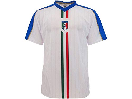 BrolloGroup Maglia Calcio Italia Bianca Personalizzabile Nome Numero Replica Ufficiale FIGC PS 24120 (Bianco, S)
