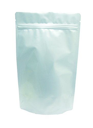Sale!! 16 oz. White Foil Stand Up Zip Pouch (Coffee Packaging, Tea Packaging, Jerky Packaging)