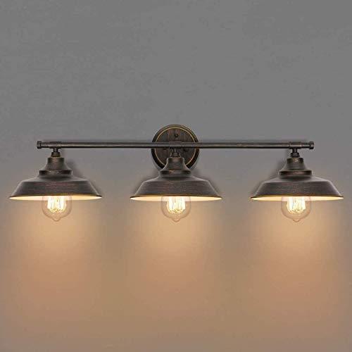 Luz Espejo Baño Retro 80CM, Lámpara de Espejo Maquillaje-Luz Aplique para Baño E27 3-Luz Vintage Industrial Lámpara de Pared para Baño, Iluminación Espejo, Luz incluida