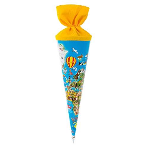 Goldbuch Escolar con diseño de Mapa del Mundo, Dulces de 35 cm, Bolsa de cartón Lacado, Paquete de Regalo para Muchas Ocasiones, Multicolor, (93 070)
