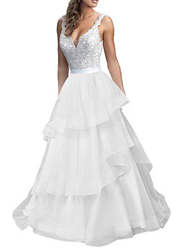 Brautkleider Vintage A-Linie Hochzeitskleid Spitzen Prinzessin Standesamtkleid Tüll Brautkleid Schleppe Elfenbein 40