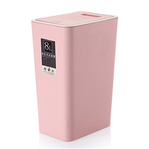Haodou Cubo de Basura Cuadrado 8L Tipo de Cubierta de Presión Cubo de Basura de Cocina Sala de Estar Inodoro Papelera de Papel de Oficina Pedal de Pie para El Hogar (Rosa)