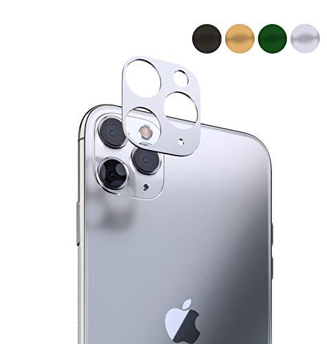 innoGadgets Kameraschutz kompatibel mit iPhone 11 Pro / 11 Pro Max | Passgenauer Kamera Schutz gegen Stöße und Kratzer | staubfrei installieren mit Reinigungs-Set | Aluminiumrahmen in Silber