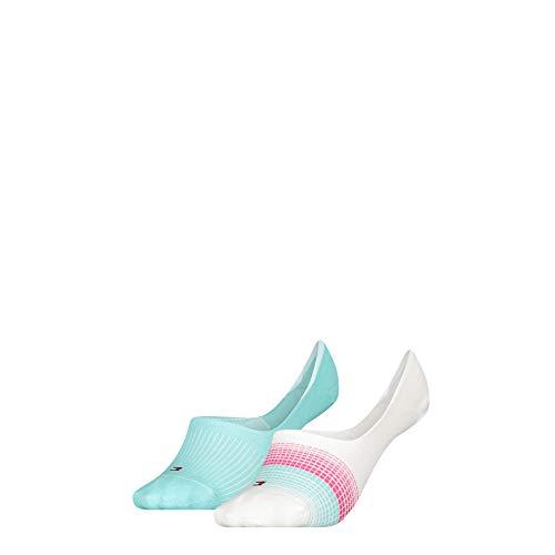 Tommy Hilfiger Womens Gradient Stripe Women's Footie (2 Pack) Socks, Mint Combo, 39/42