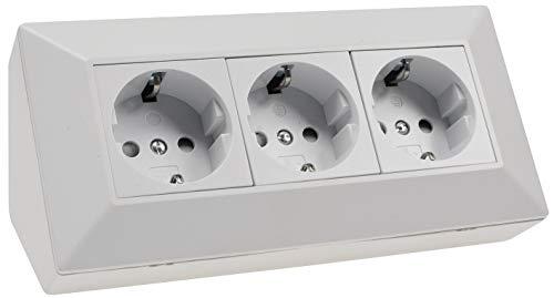 Stopcontactenblok hoekstopcontact I 45° hoek met kinderbeveiliging I 230V opbouw & hoekmontage voor werkblad keuken werkplaats I mat wit 3 stopcontacten, mat wit.