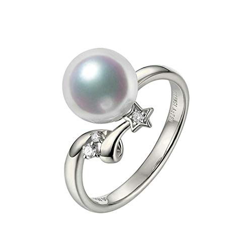 AmDxD White Gold Rings for Women 18K, Akoya Pearl Star Solitaire Ring Valentine Rings Women Size Q 1/2, Birthday Gifts for Girlfriend Wife Mom with Gift Box