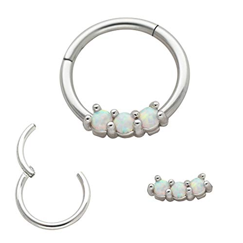 Excepro 16G Nose Studs Hoops 316L Surgical Steel Blue Opal Body Jewelry Nose Hoop Rings Cartilage Earring Piercing (Rose gold plated) (White)