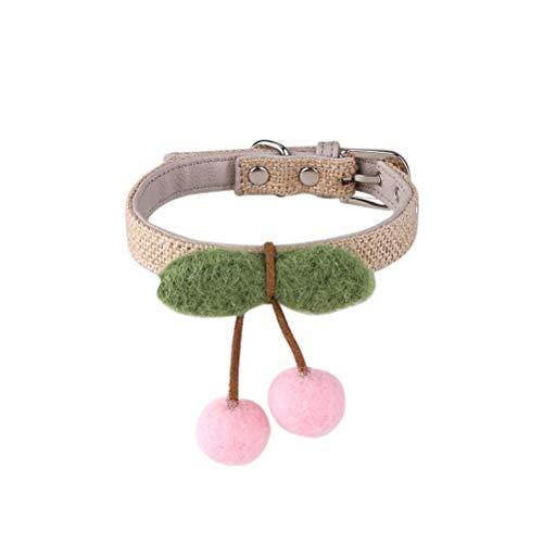 WNZL Haustierhalsband, Süßes Hundeleinenhalsband, Handgefertigte Filzkirsche, Katzen- Und Hundehalsband
