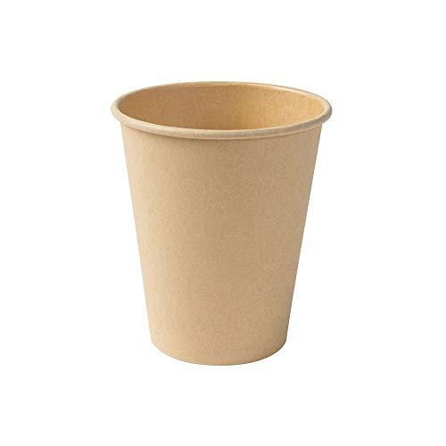 BIOZOYG Kompostierbare Bio Einweg Becher I Einmalbecher Getränkebecher Wegwerfbecher Papierbecher mit PLA Beschichtung I 50 Stück Coffee to go Pappbecher braun ungebleicht 250 ml 10 oz