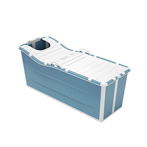 Freistehende Badewannen Erwachsene Faltende Badewanne, Kinderbecken Tragbare Kunststoff-Duschwanne Mit Deckel (Color : Blue)