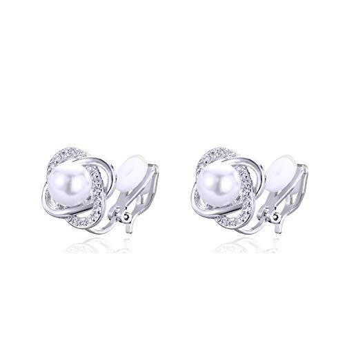 QUKE - Orecchini a clip con perle d'acqua dolce e cristalli di zirconia cubica, da donna