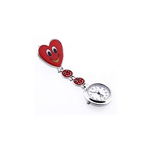 Smile Face Nurse Watch Fashion Ladies Red Heart Brooch Hygienic Protection Pendant Creative Medical Pocket Clasp Watch Red Exquisite and Beautiful Decoration