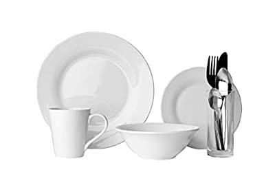 Sabichi 9pc Solo Dining Set, White, Porcelain, Plates, Bowl, Cutlery, Mug & Glass. Ideal for Students from Sabichi