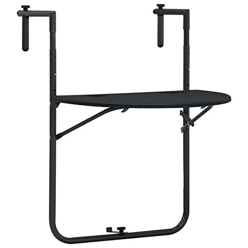 vidaXL Table de Balcon Suspendue Table Basse Jardin Table d'Extérieur Résistant aux Intempéries Noir 60x64x83,5 cm Aspect de Rotin Plastique