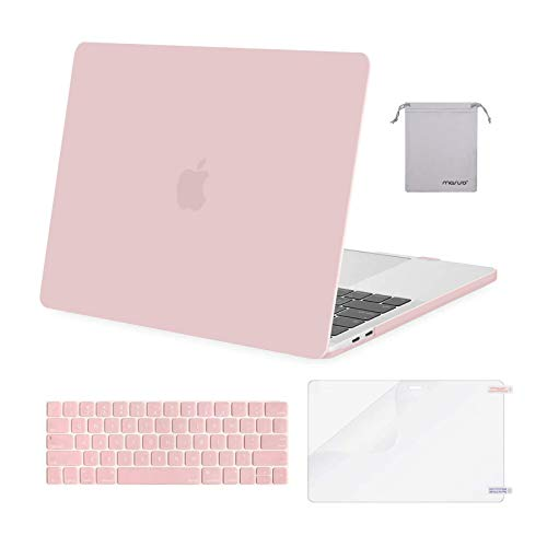 MOSISO Compatible with MacBook Pro 13 inch Case 2016-2020 Release A2338 M1 A2289 A2251 A2159 A1989 A1706 A1708, Plastic Hard Shell Case&Keyboard Cover Skin&Screen Protector&Storage Bag, Rose Quartz