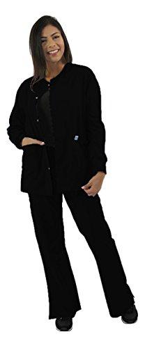Spectrum Scrub Jackets Doctor Coat-Crew Neck Multi Pocket Unisex Uniforms M Black
