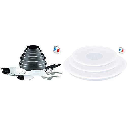 Tefal L2049002 Ingenio 5 Essential Lote de 17 Piezas Gris Antracita + Ingenio Set de 3 Tapas para la conservación de cazos de 16, 18 y 20 cm, Blanco