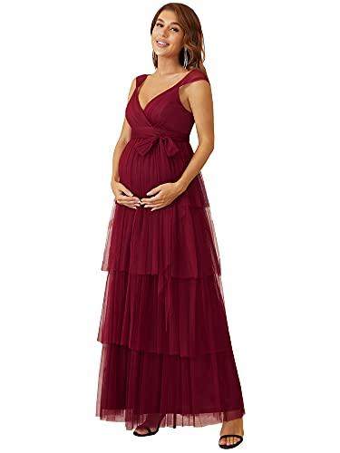 Ever-Pretty Vestido de Fiesta Largo para Mujer Embarazada Sin Mangas de Tirante Apoyos De Fotografía con Cinturón Burdeos 36