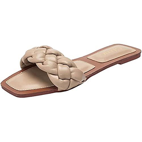 Yokbeer Zapatillas de Mujer de Gran Tamaño Sandalia Elegante Estilo Simple Moda Zapatos Abiertos Zapatos Planos Casuales Multicolor Casual Descalzo Cómodo Zapatilla Salvaje