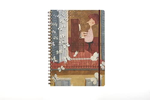 Cuaderno de espiral A4 120 hojas tapa de plástico y porta documentos cuaderno de anillas - Apto para recordatorios, escuela, oficina con gráficos de Le Nasute.